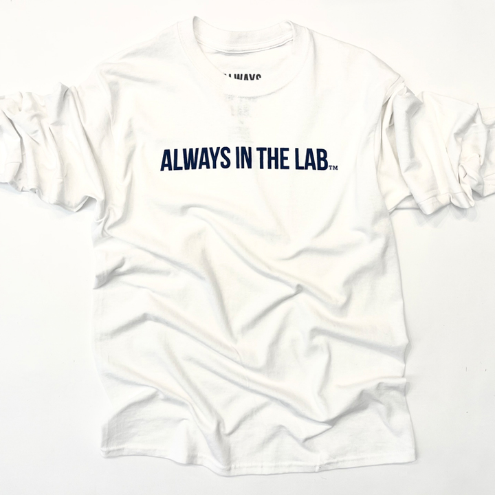 """ALWAYS IN THE LAB WHITE LONG SLEEVE """"Bubble quietly""""!"""