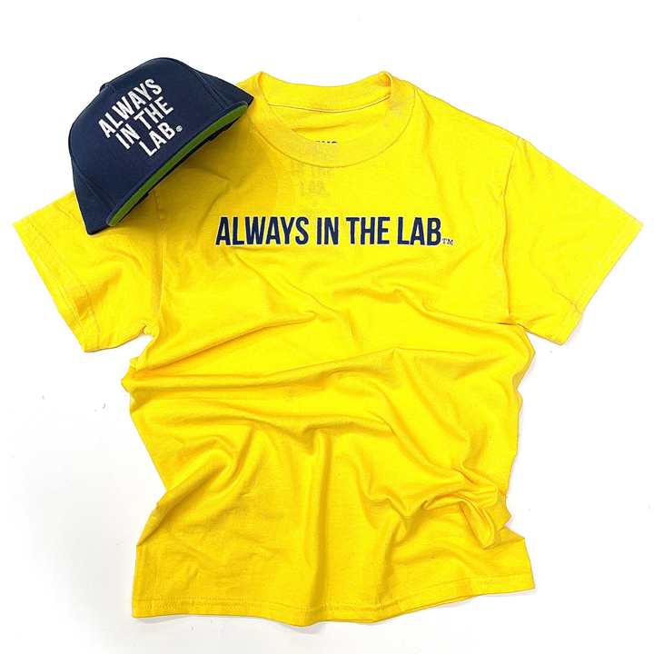 "ALWAYS IN THE LAB YELLOW TEE ""Bubble quietly""!"