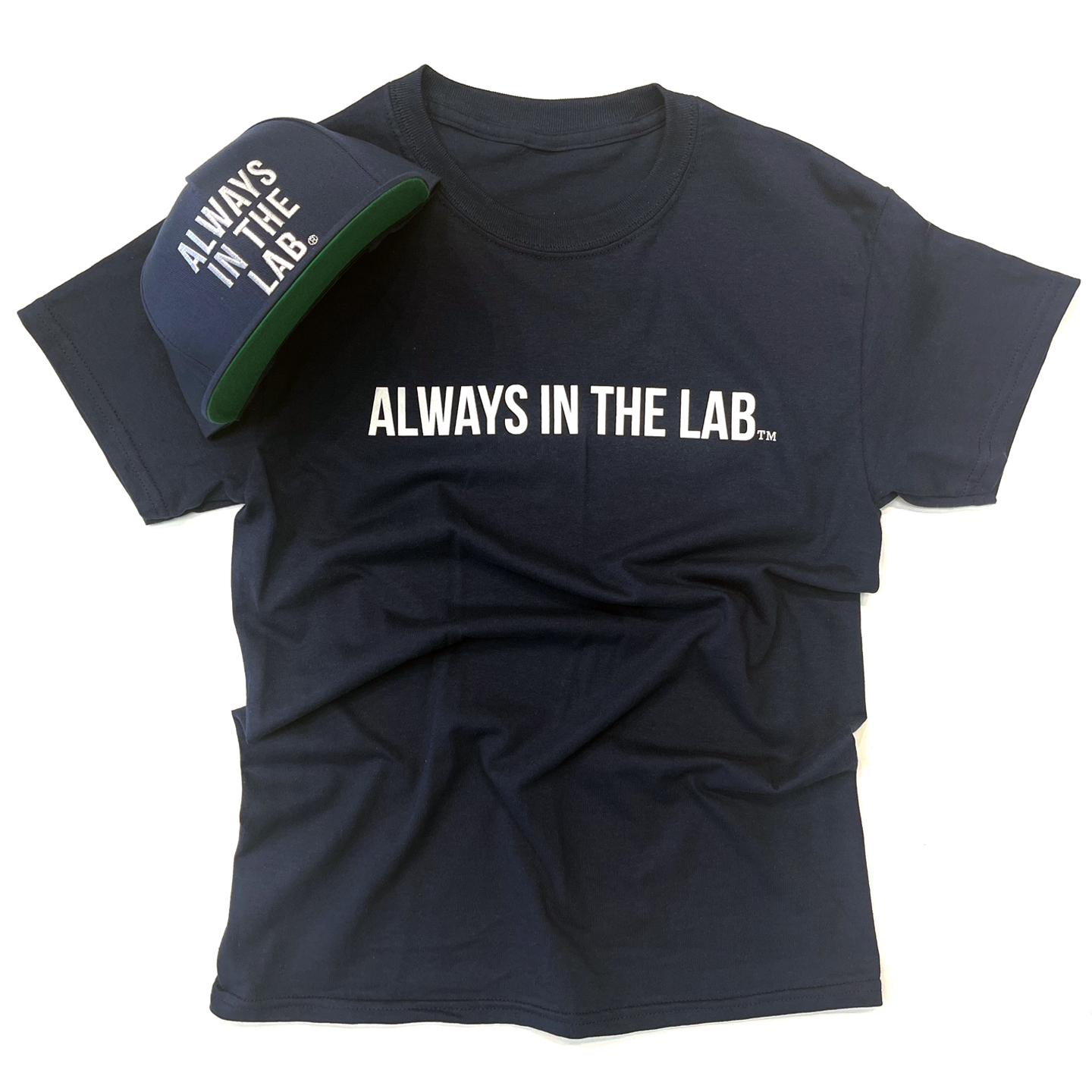 """ALWAYS IN THE LAB NAVY TEE """"Bubble quietly""""!"""