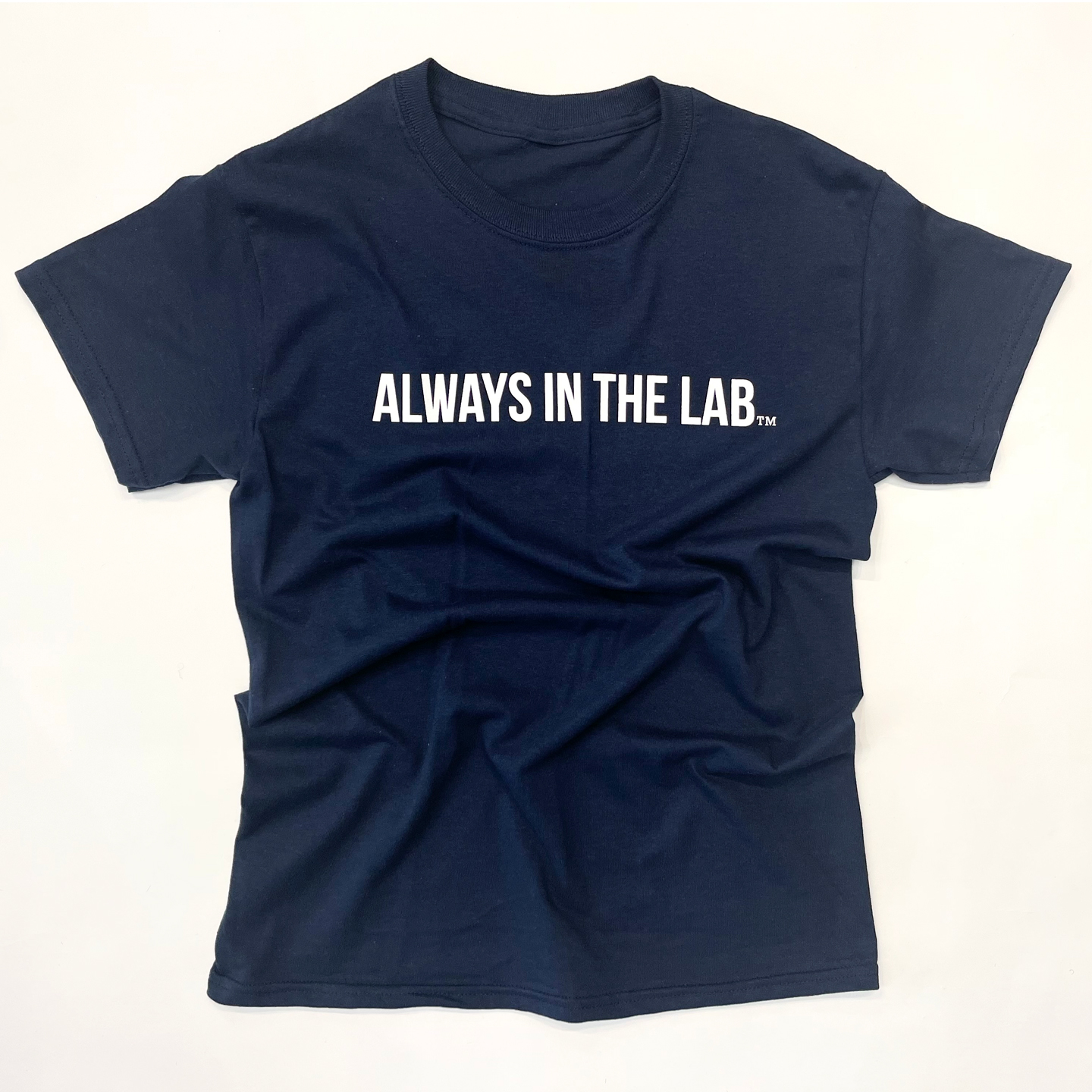 ALWAYS IN THE LAB NAVY TEE